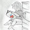 Dessin portrait d'enfant : p'tit moment de tranquillité