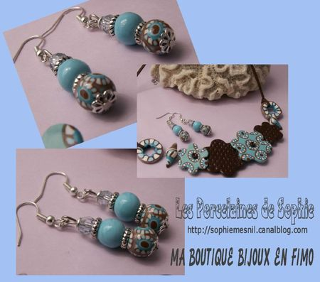 boucles turquoises marron perle