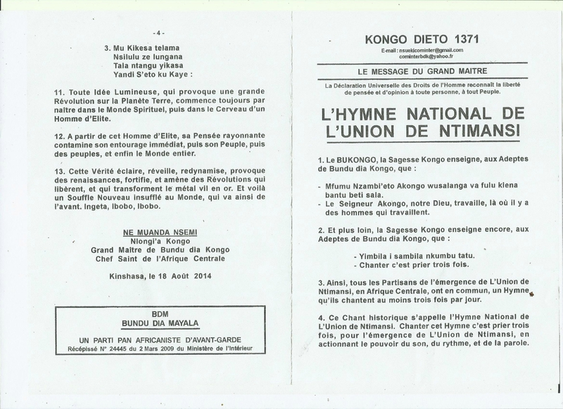 L'HYMNE NATIONAL DE L'UNION DE NTIMANSI a