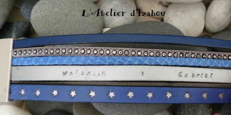 P1210346 Prototype bracelet Valentin & Gabriel multirangs cuirs bleu-gris