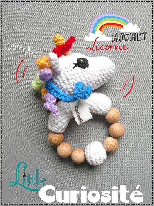 Cadeaux de Naissance Crochet - Hochet Licorne - Rattle Unicorn - fait main - Made in France - Little Curiosité