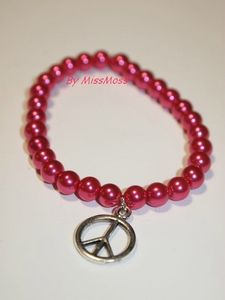 Bracelet simple peace and love rose