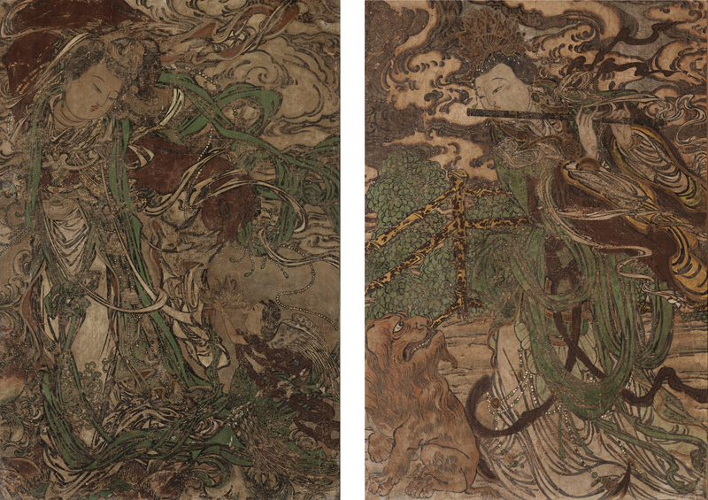 A pair of polychrome stucco fresco fragments, Yuan-Ming dynasty (1279-1644)