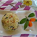 Riz de printemps au curry . arroz de primavera al curry