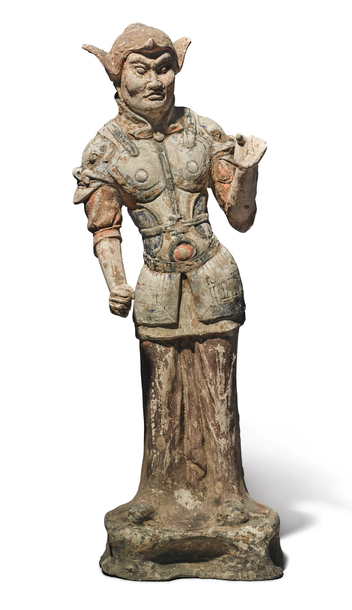 A large painted pottery figure of a guardian, Tang dynasty (618-907)