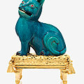 A louis xv ormolu-mounted chinese turquoise-glazed porcelain cat, the porcelain qianlong (1736-1795), the mounts second half 18t