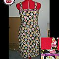 Robe Pin up version jupe droite tissu mexican skulls black T40-42 en stock