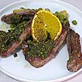 Côtelettes d'agneau en croûte de pistache et orange
