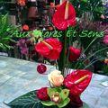 Saint Valentin Anthurium rouge et Cymbidium vert