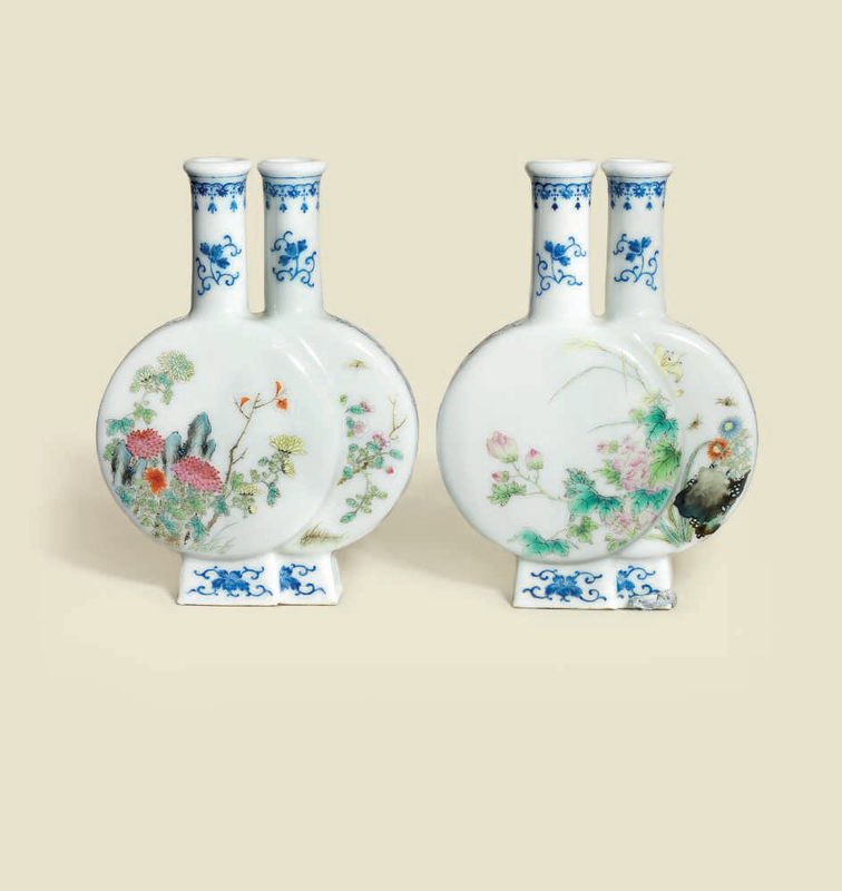 A fine and rare pair of famille rose floral double vases, Jing Yuan Tang zhi seal marks in iron-red, Republic period (1912-1949) 2