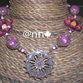 Collier MAXI plaque ronde cuivre perles marron rose n°2