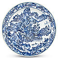 An exceptionally large chinese blue and white porcelain charger, kangxi period (1662-1722)
