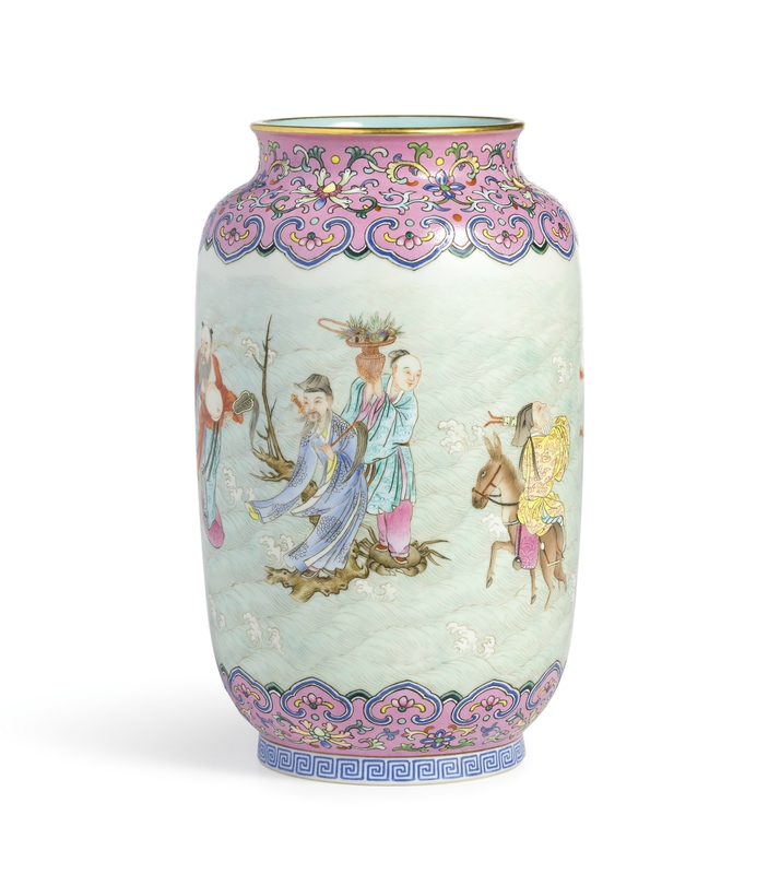 A pink-ground famille-rose 'Eight Immortals' vase, Qianlong mark and period