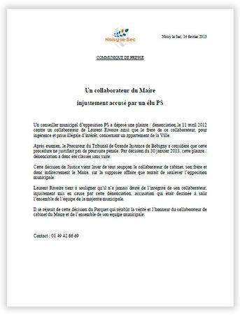 communiqué de presse Mairie Noisy-le-Sec 14fevrier 2013