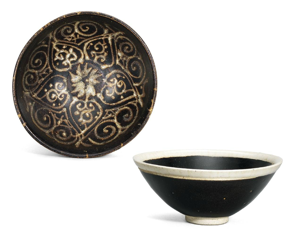 A white-rimmed black-glazed bowl and a Jizhou tixi-style bowl, Northern Song dynasty and Southern Song dynasty
