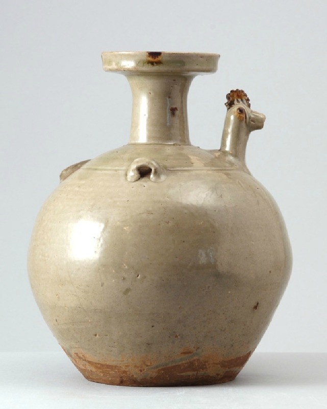 Greenware ewer with chicken head spout, Yue kiln-sites, 4th - 5th century (AD 301 - 500), Eastern Jin Dynasty (AD 317 - 420)