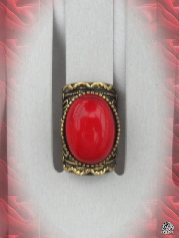 Bague Style Vintage Cléa Perle Rouge Corail Métal Couleur Bronze