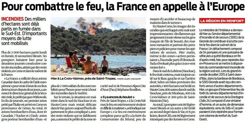 2017 07 26 SO Pour combattre le feu la France en appelle à l'Europe