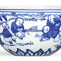 A blue and white 'boys' cup, mark and period of jiajing (1522-1566)
