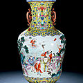 An extremely rare yellow-ground famille-rose two handled 'immortals' vase, jiaqing period, 1796-1820