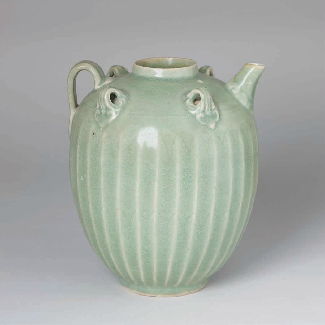 Celadon Ewer with Carved Lotus Petals, Trần Dynasty 1225-1400 A