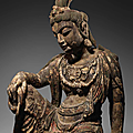 a very rare carved wood figure of guanyin, northern song-jin dynasty (960-1234)