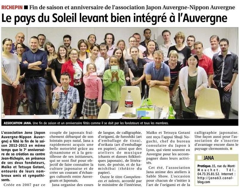 Article journal La Montagne JANA 29072013