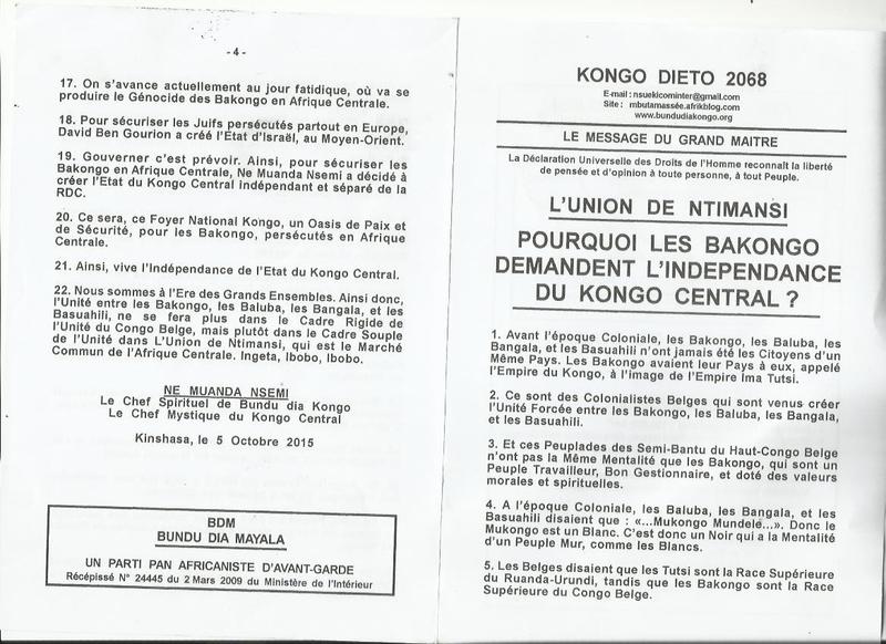 POURQUOI LES BAKONGO DEMANDENT L'INDEPENDANCE DU KONGO CENTRAL a