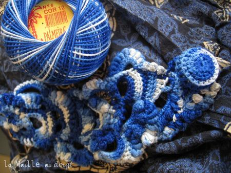 Bracelet azul Freeform crochet 4