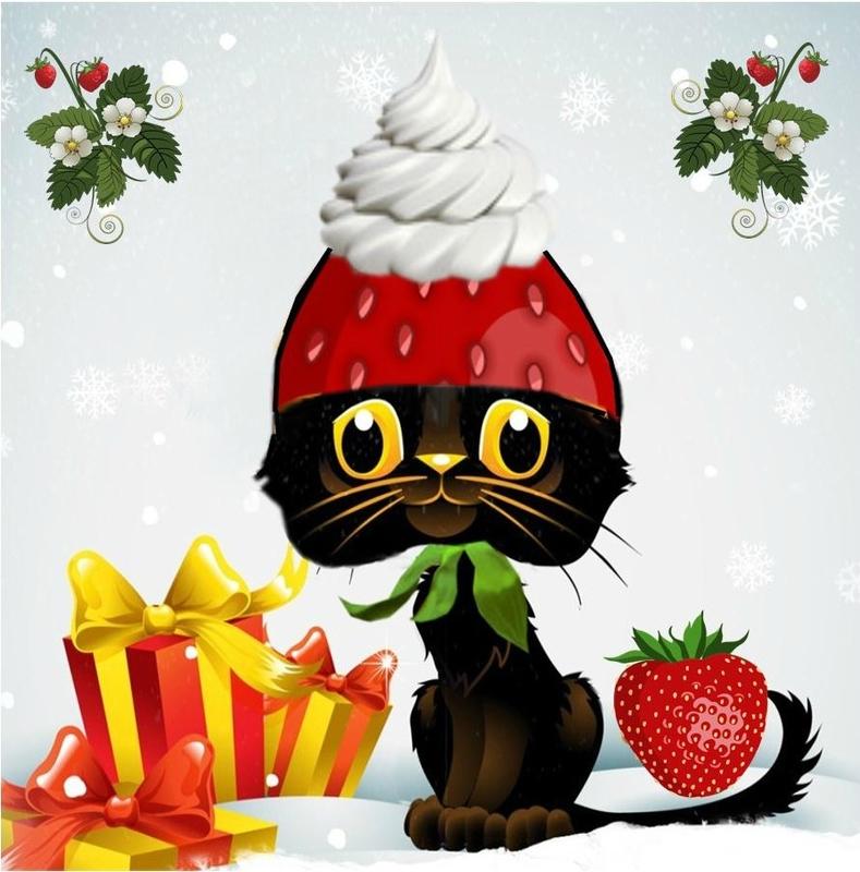 carte noel chat et fraise