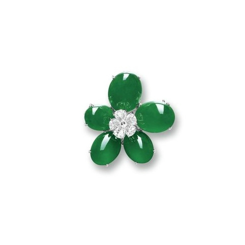 Jadeite and Diamond 'Flower' Brooch
