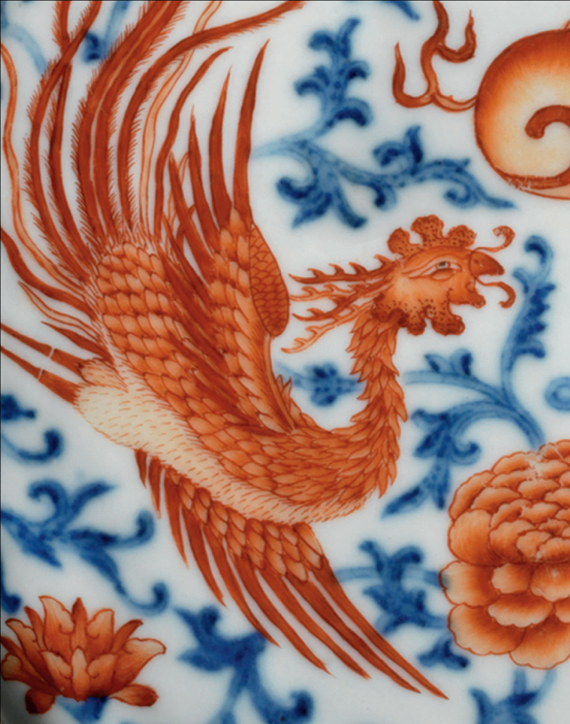 A very rare underglaze-blue and iron-red-decorated 'Phoenix' moon flask, baoyueping, Qianlong period (1736-1795) (d1)