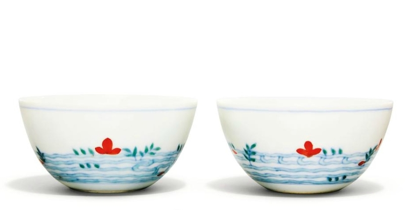 A pair of doucai cups, Qing dynasty, 18th century