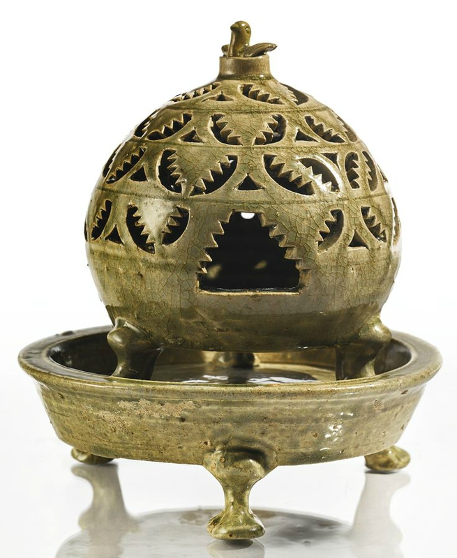 A reticulated 'Yue' censer, Western Jin dynasty, 3rd-4th century