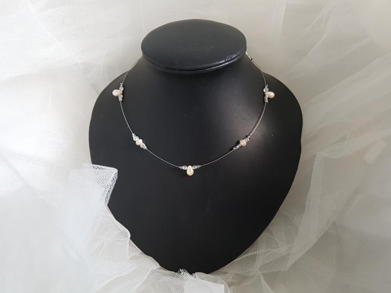 Collier mariage perles cristal et ivoire