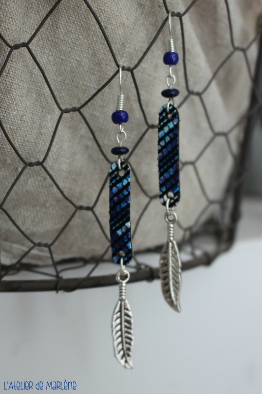 Bo azteque bleu plume