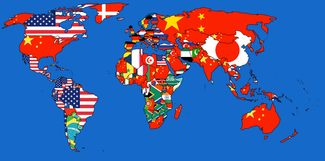 Map Of The World Containing The Flag Of The Country It Imports The Most From