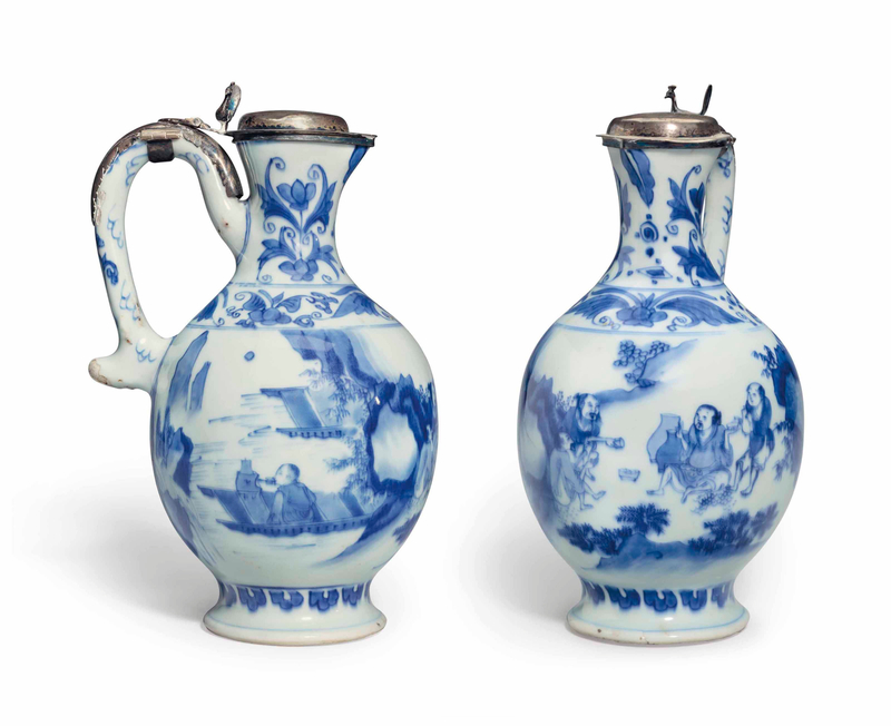 A blue and white ewer with silver mounts, Chongzhen period (1628-1644)