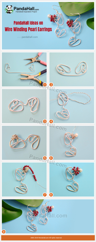 4-PandaHall Ideas on Wire Winding Pearl Earrings
