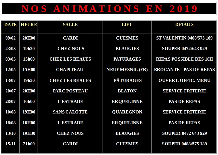 Nos animations 2019-2