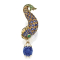 18 karat gold, gem-set and diamond brooch, rené boivin, france