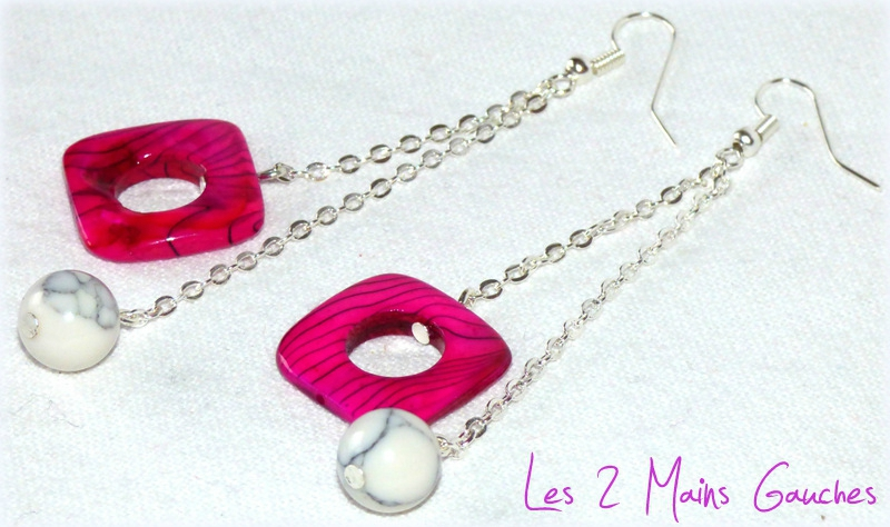 BO girly avec perles fuchsia carrées et perles blanches rondes
