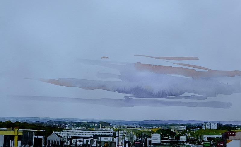 vannes rocade, aquarelle juillet 2018