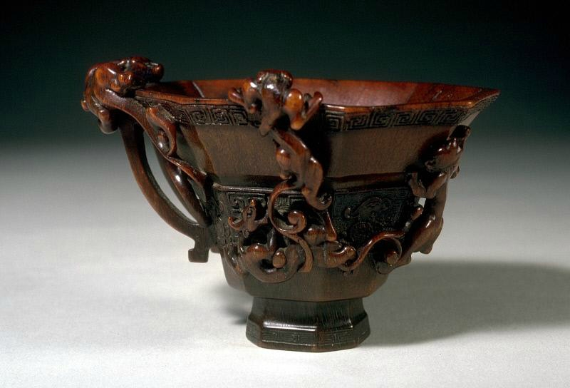 Rhinoceros horn octagonal cup in a shape of ancient bronze vessel, 17th century, Late Ming dynasty-early Qing dynasty