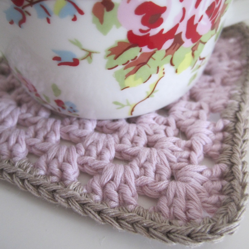 granny square coton rose beige 1