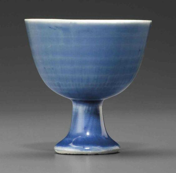 An underglaze-blue-ground wine cup, Chongzhen period circa 1643