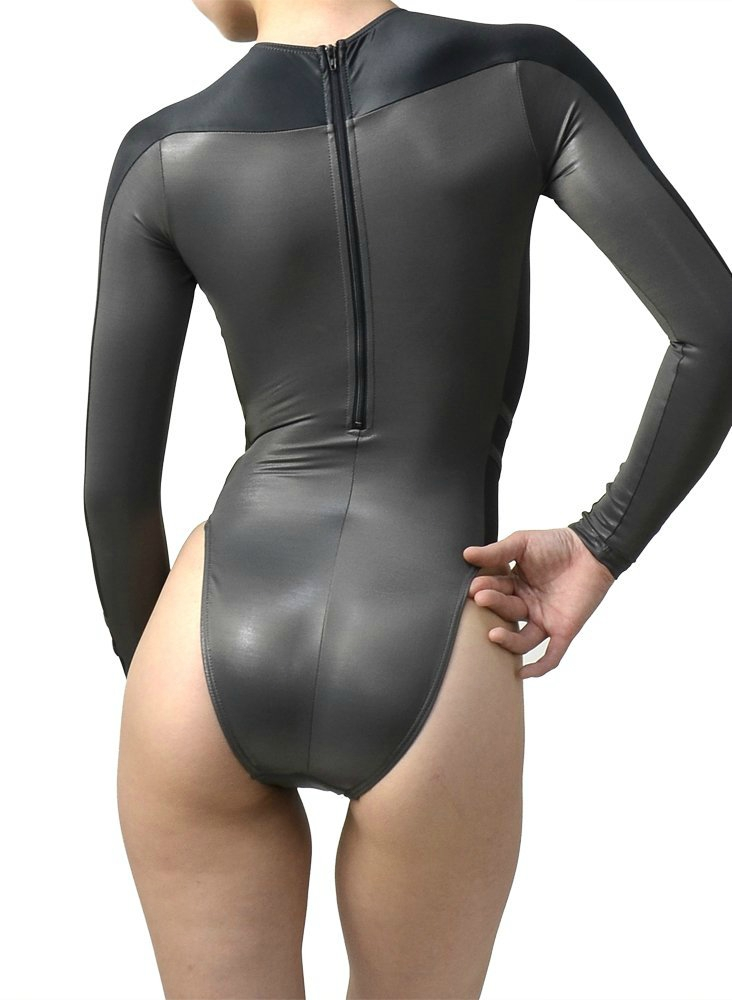 highleg long-sleeved swimsuits n-015 black & grey back