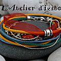Envie de couleur et de peps ?! avec ce bracelet multirangs en liberty noir et motifs multicolores, cuir jaune, coton ciré bleu..