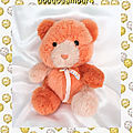 Doudou peluche ours assis orange saumon rose grelot jls rêves de peluches