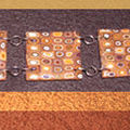 Bracelet FIMO carrés multi orange chocolat beige (N)